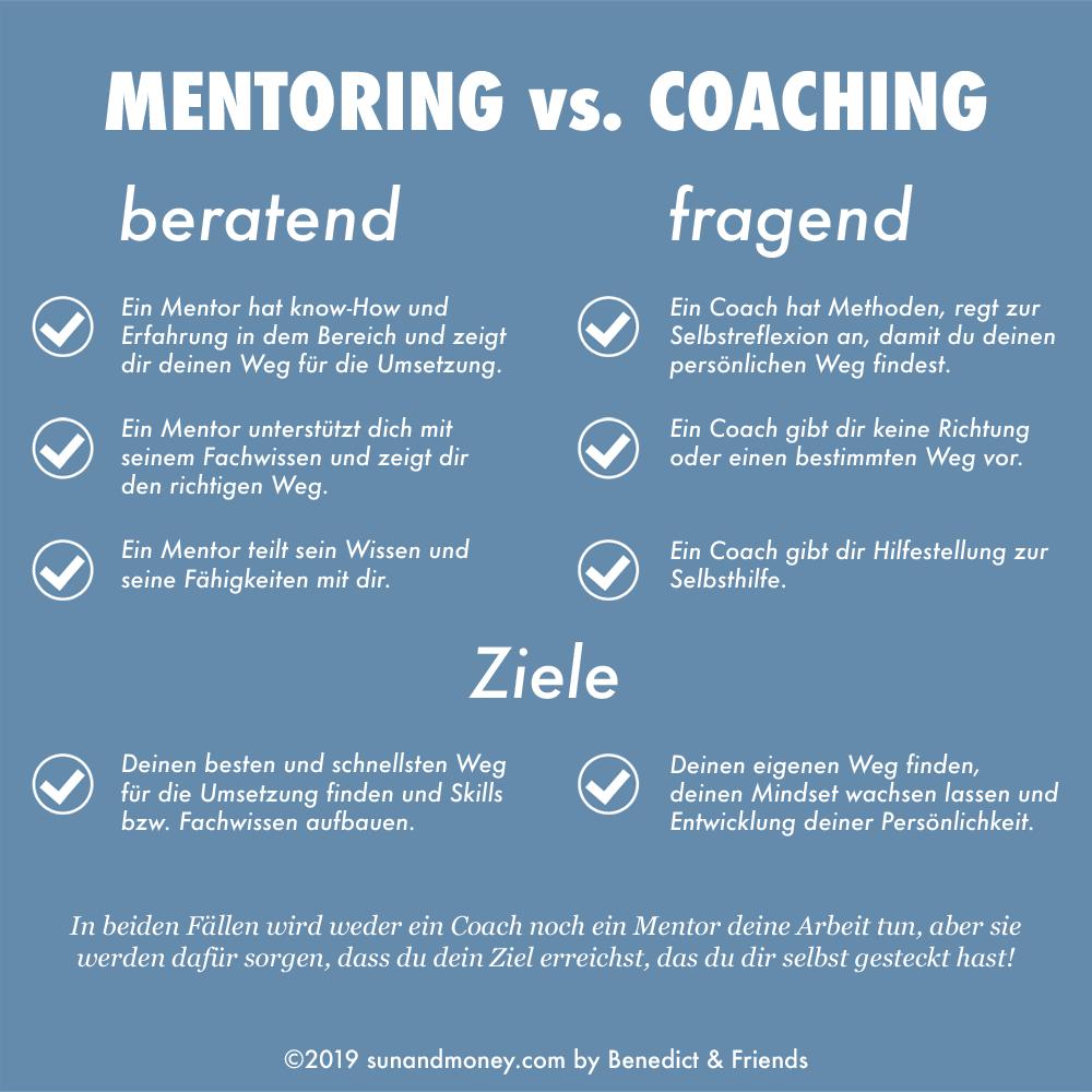 Unterschiede zwischen Mentor & Coach